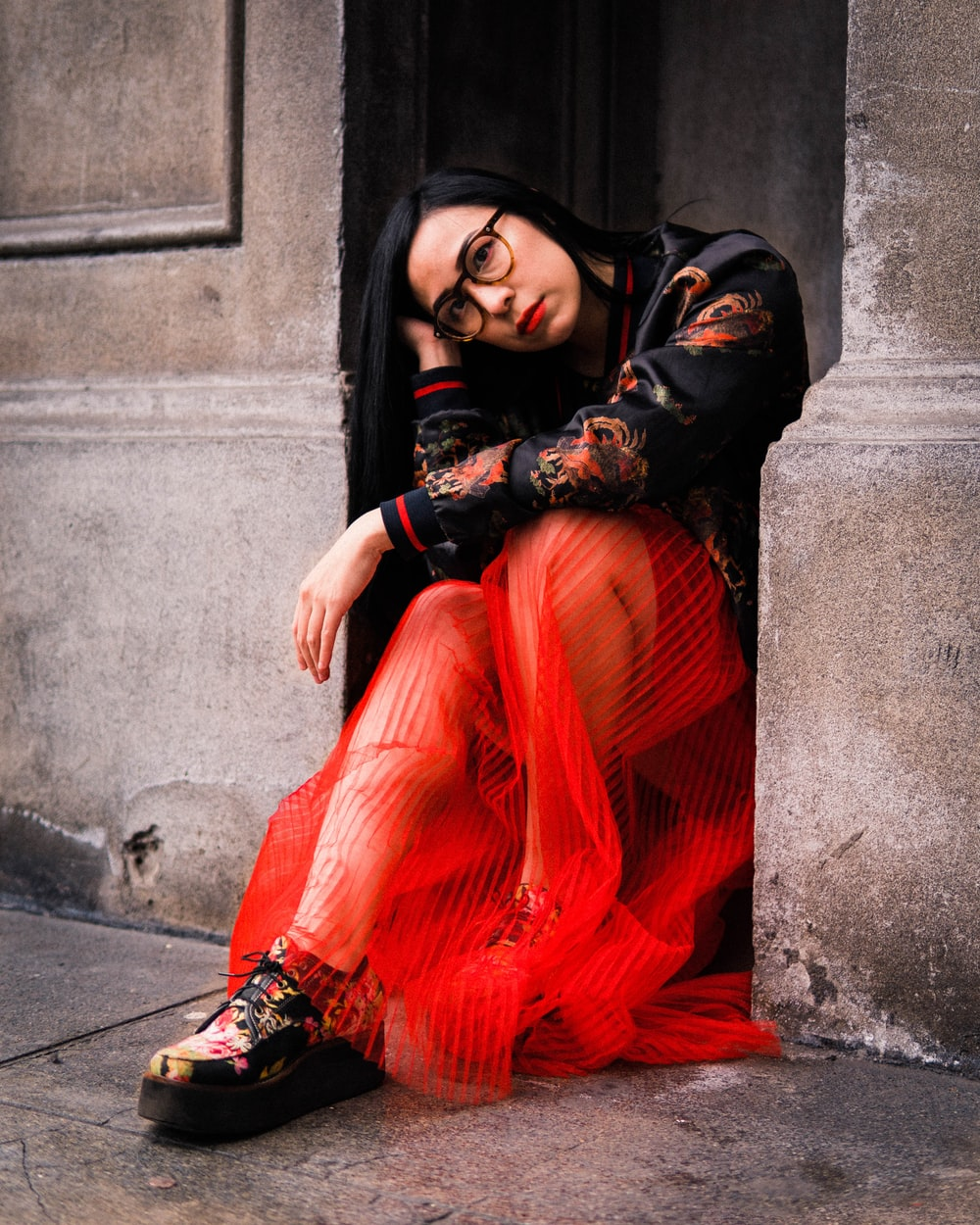 women's black and orange floral dress