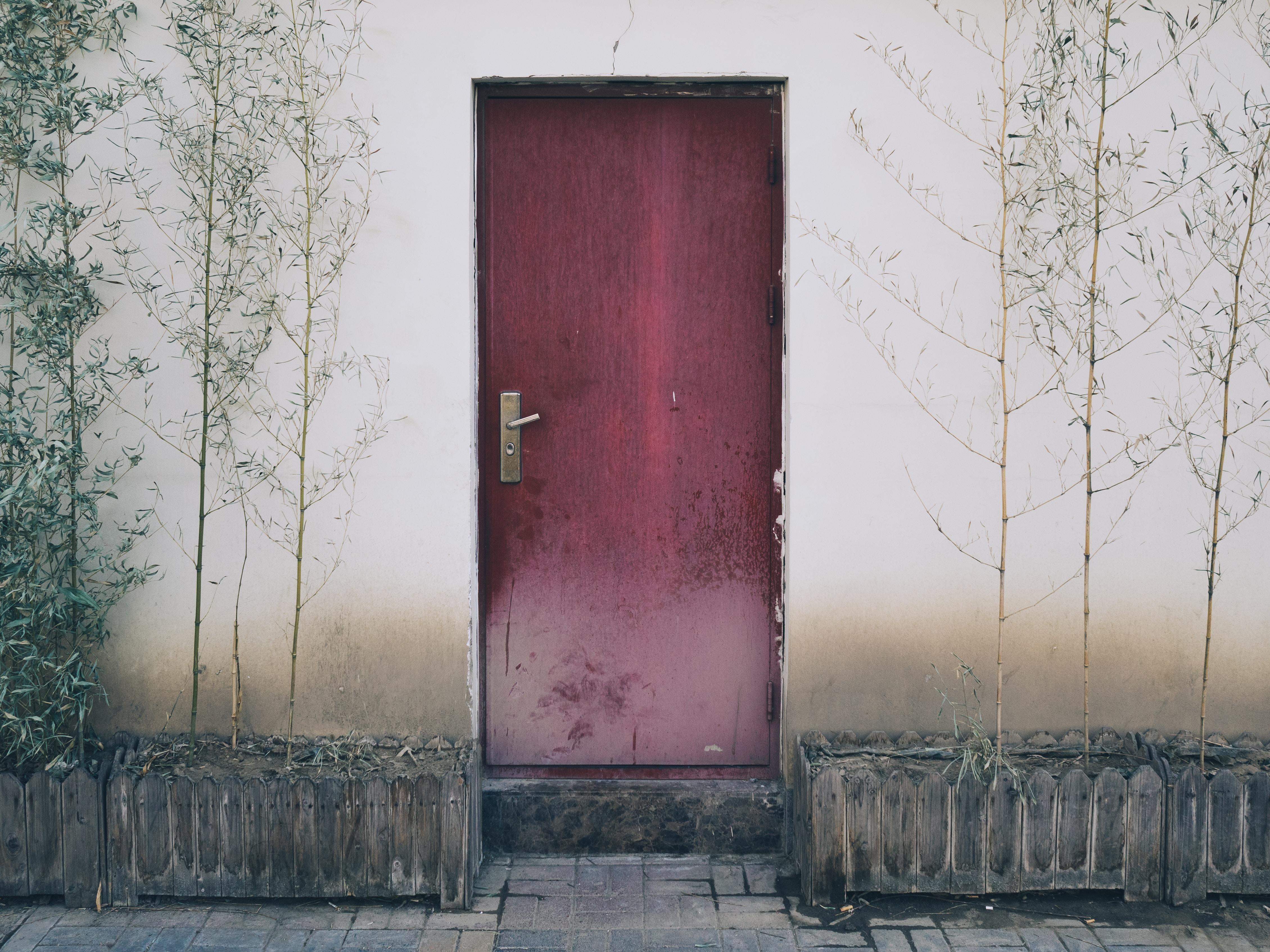 close maroon door