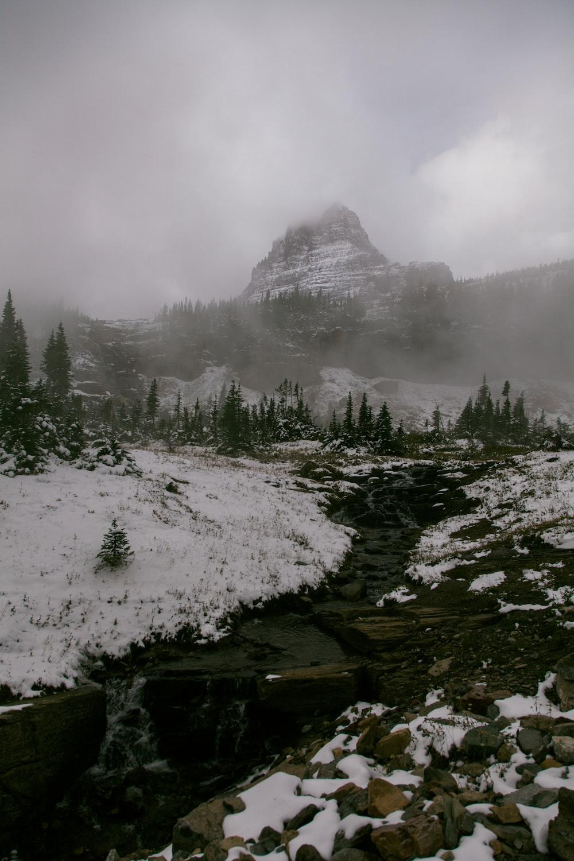 mountain with snowy terrain