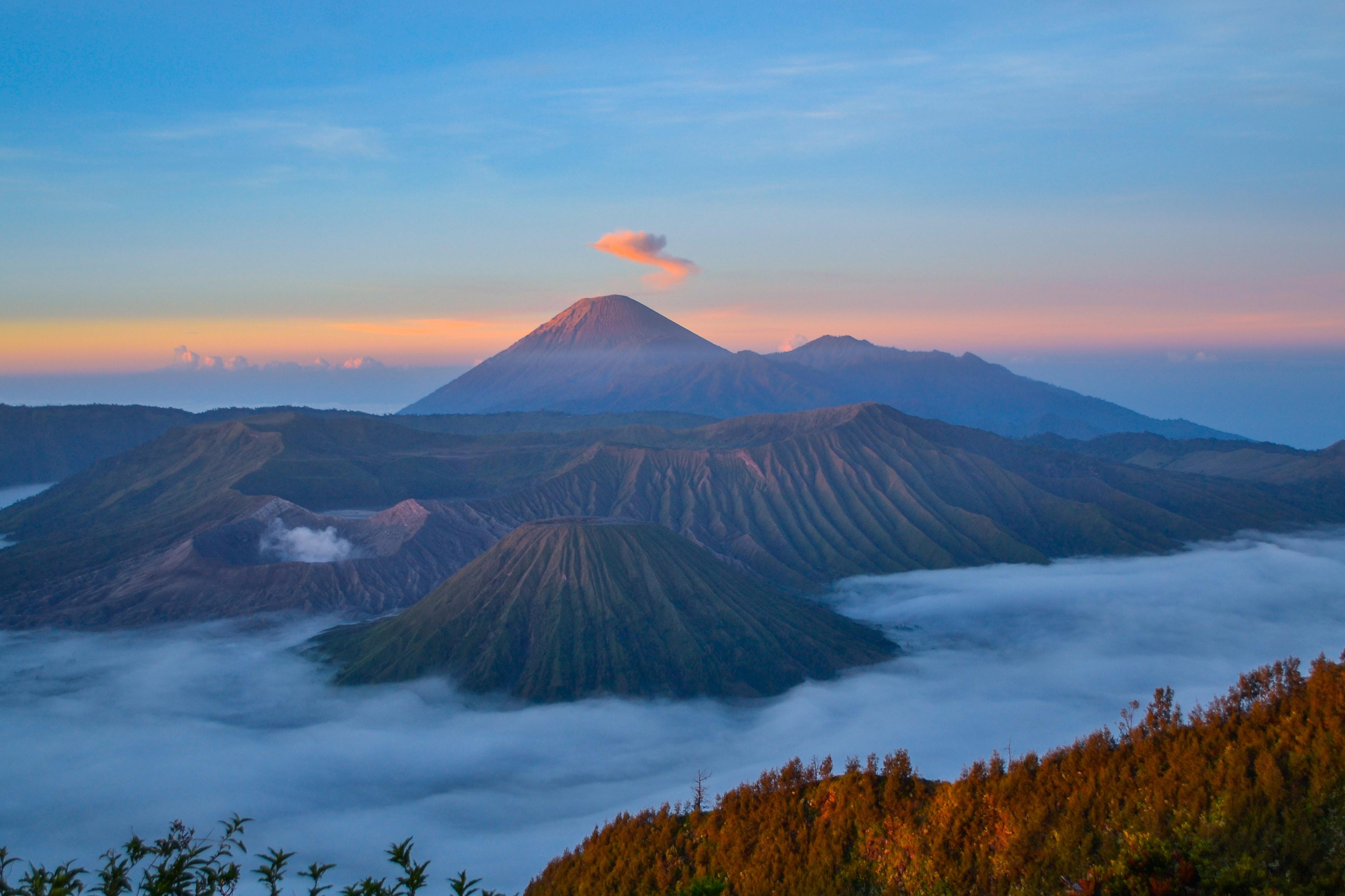 bird's-eye view photo of mountain