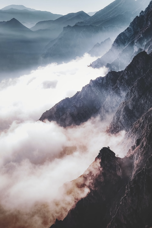 landscape photo of mountain peaks