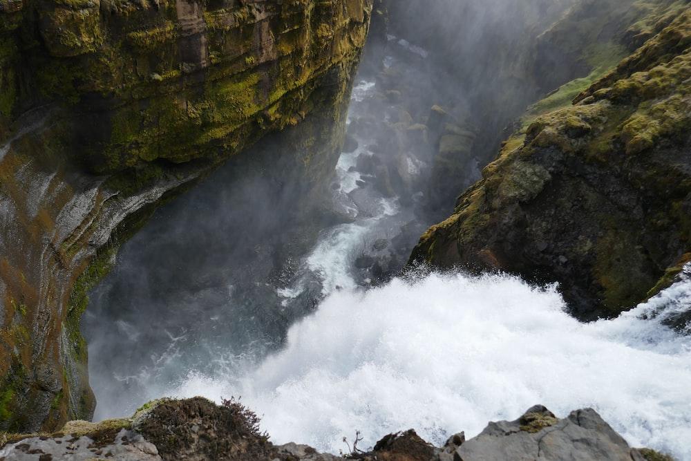 bird's eye photography of waterfall