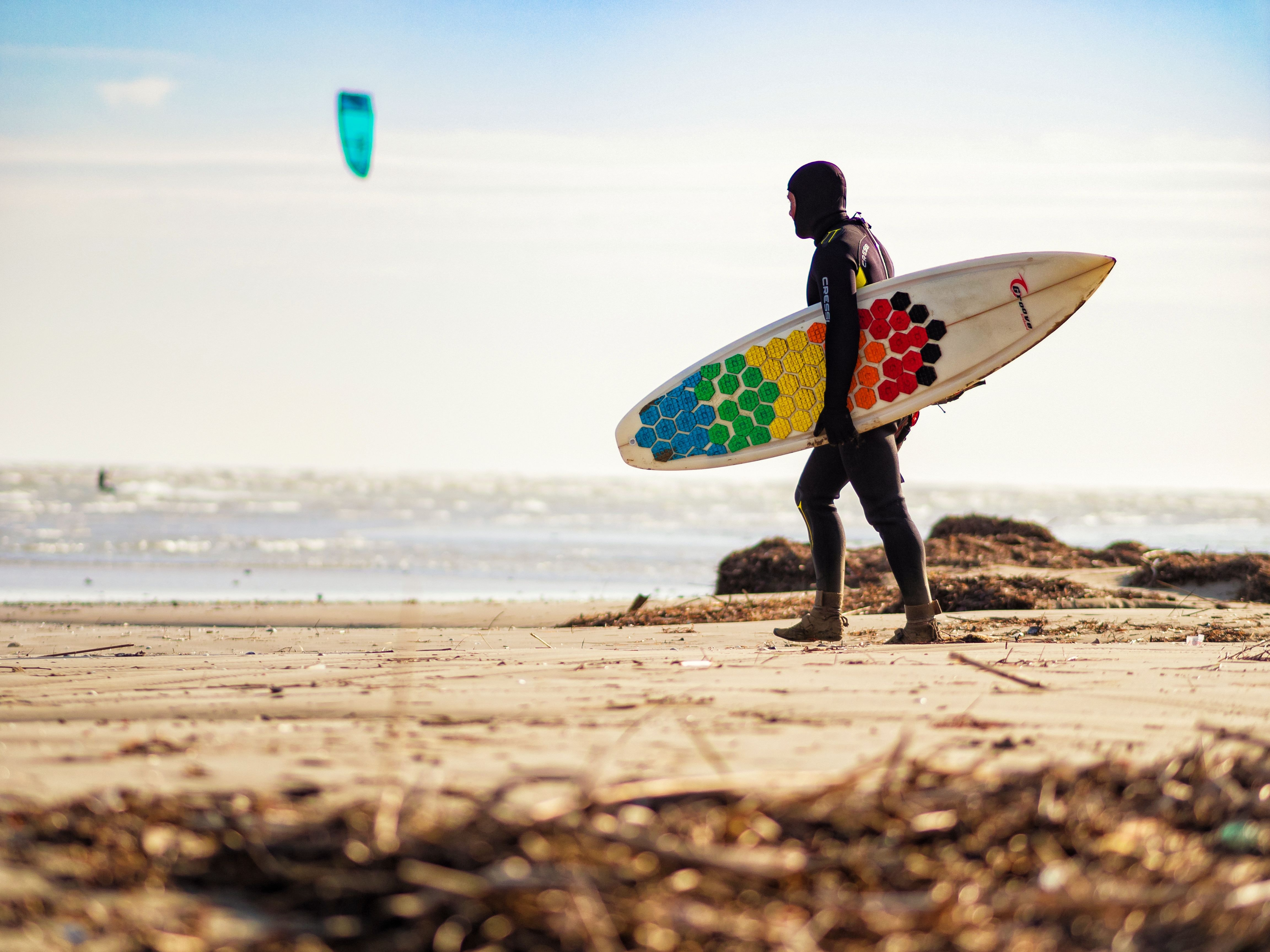 person carrying multicolored surfboard walking on seashore