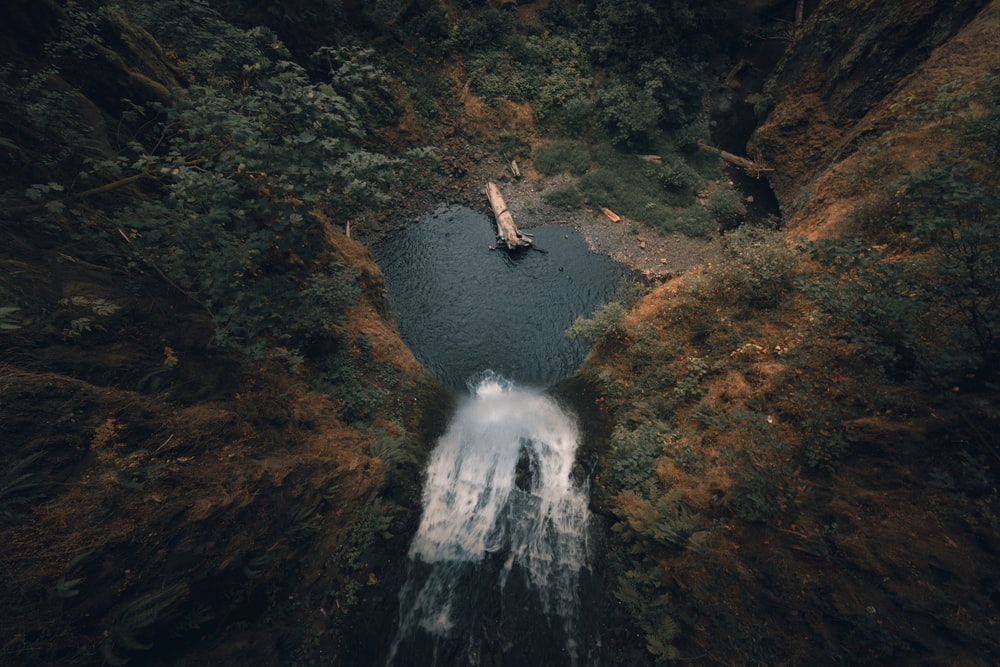 aerial photography of waterfalls