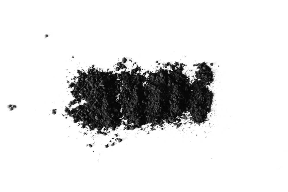 black powder on white surface
