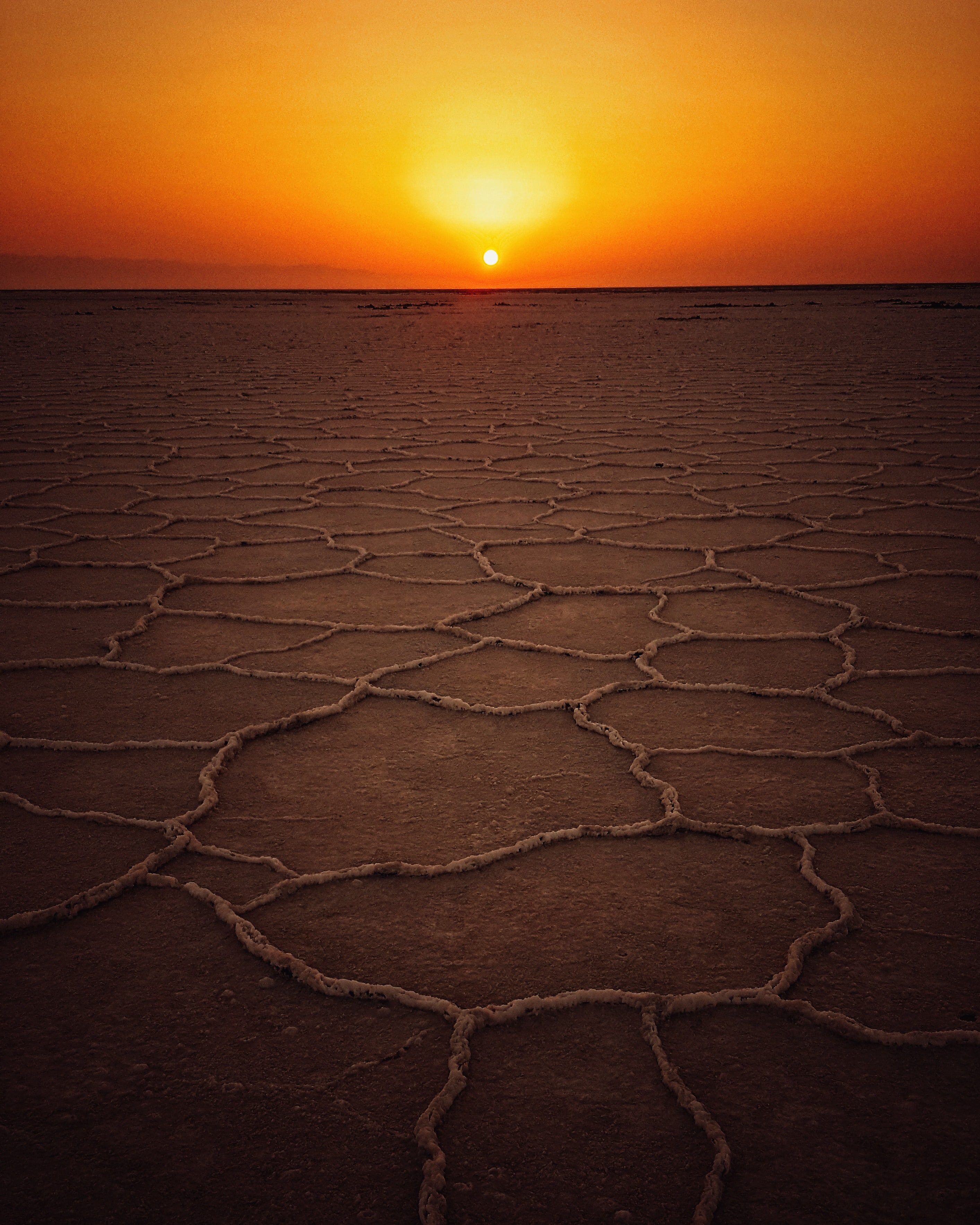 dried land at golden hour