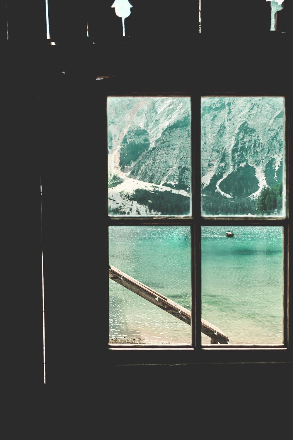 window-view of boat on water