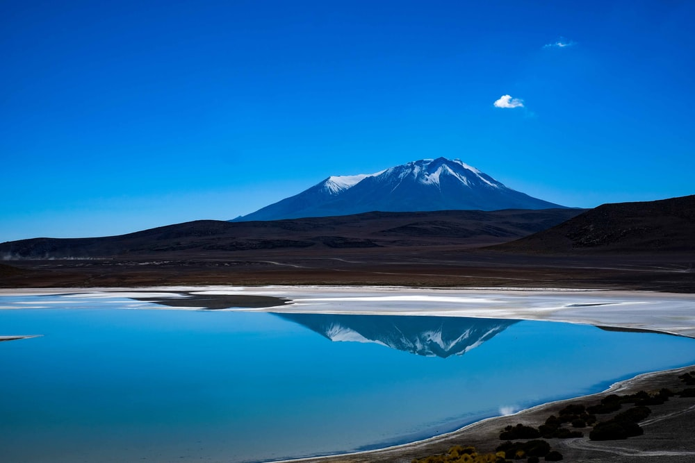 mirror water reflection of snow capped mountain at daytime