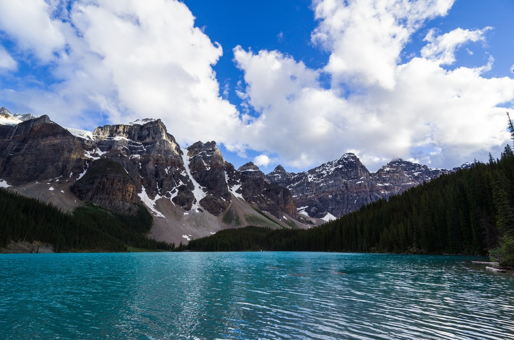 landscape photo of body of water surrounded by trees and mountains