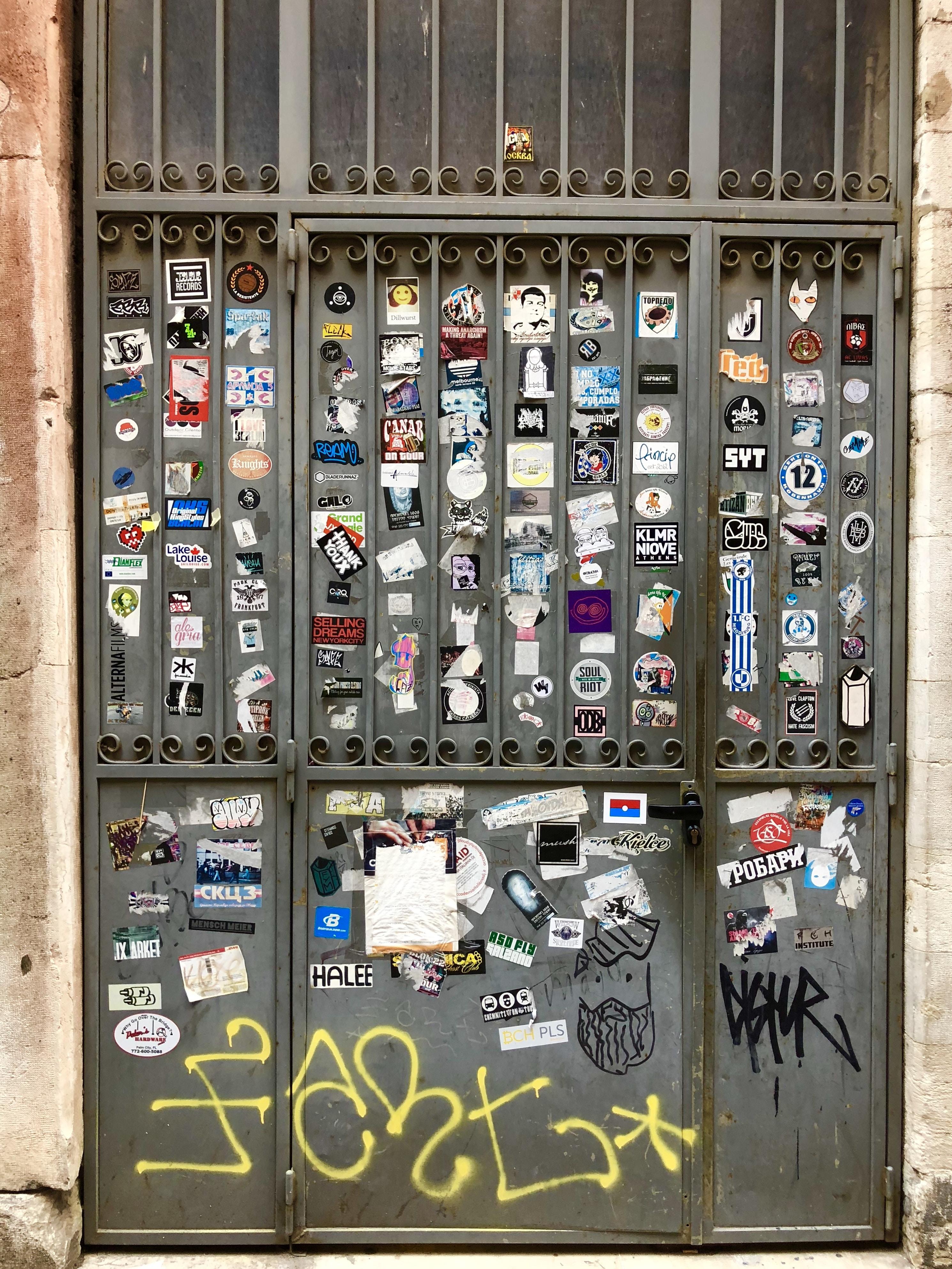 closed gray metal door
