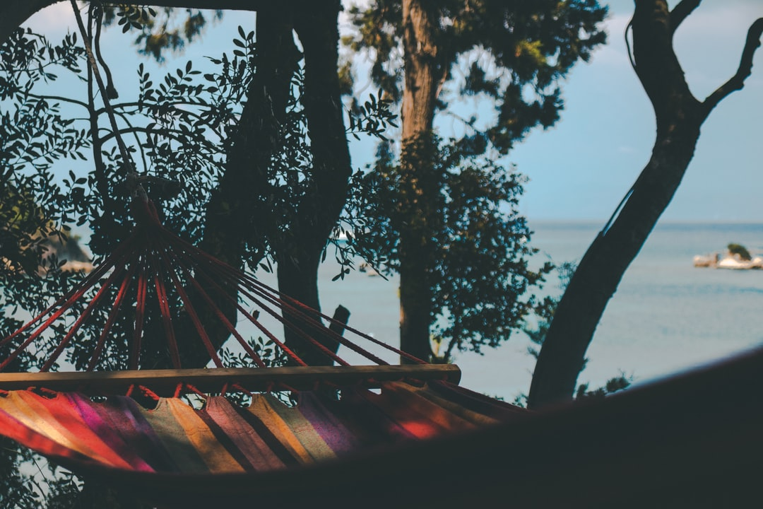 Colorful hammock with the ocean view