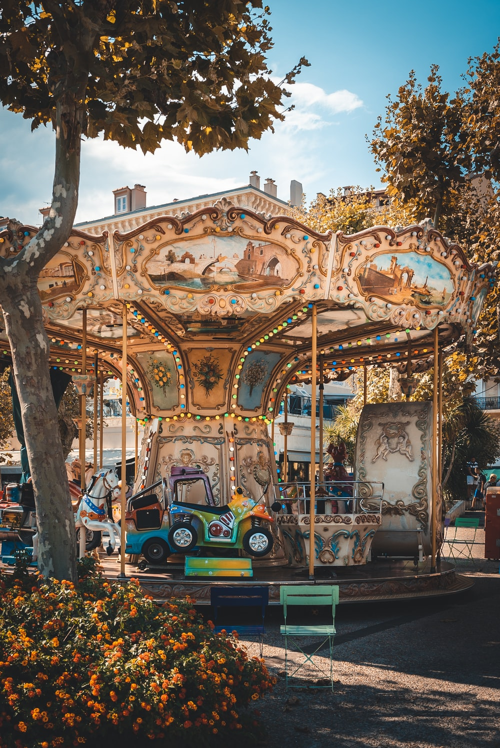 multicolored carousel near brown leaf trees at daytime