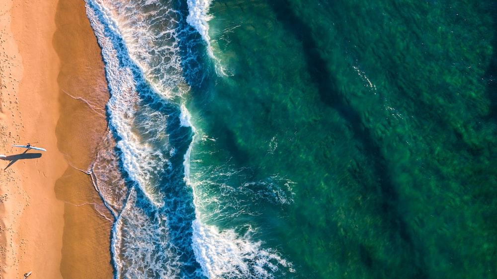 sea beside brown sand beach