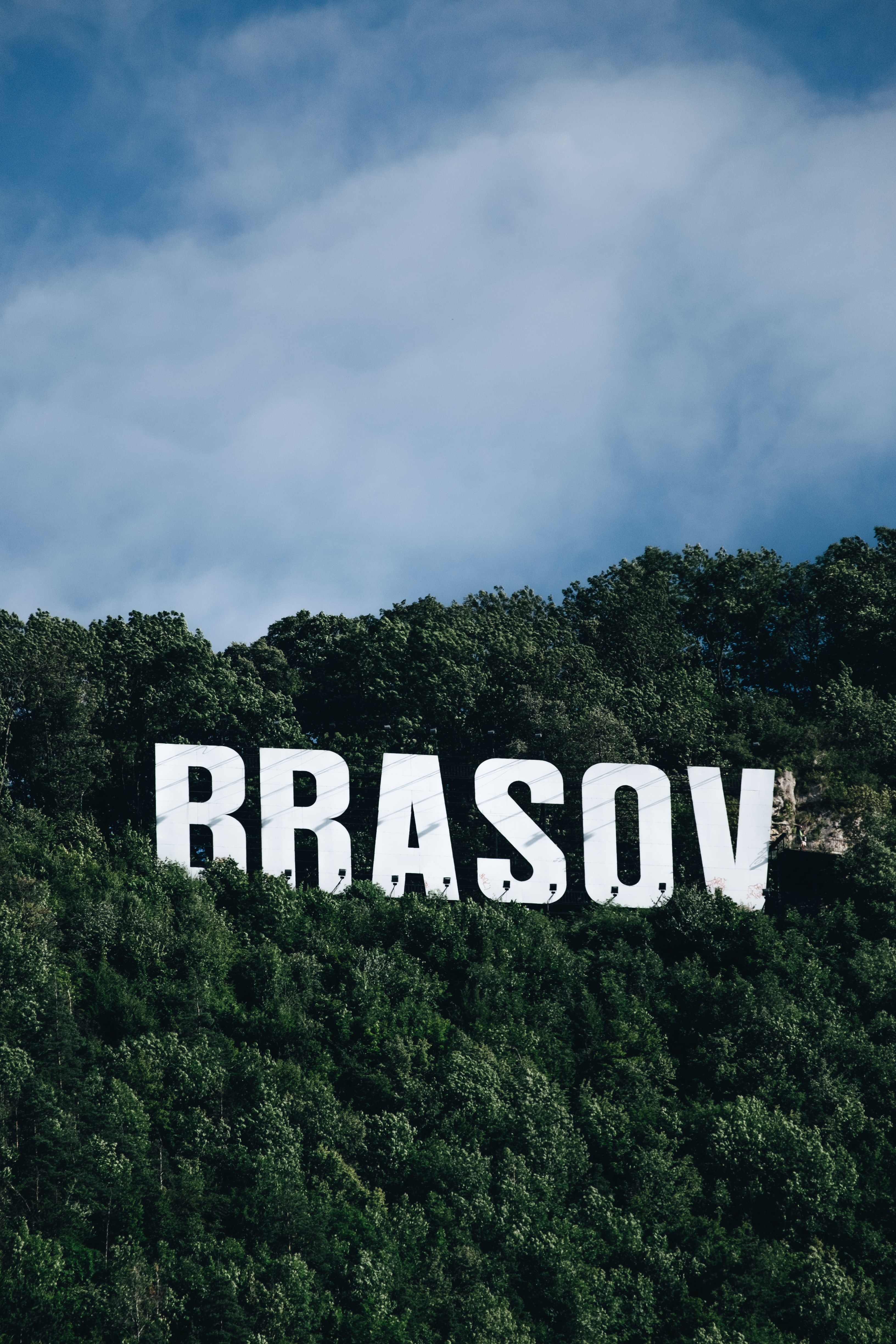 Brasov signage surrounded by trees