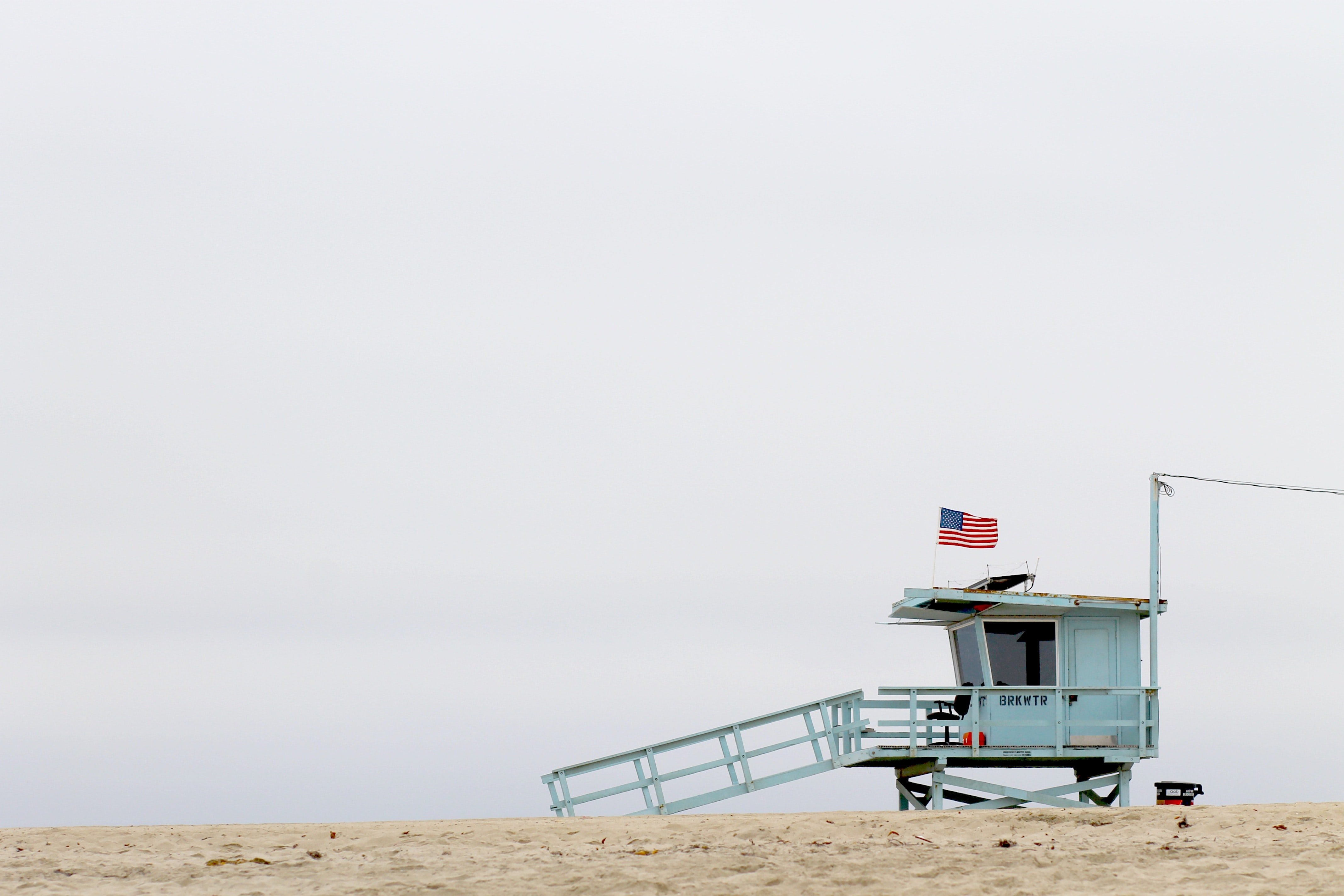 teal wooden lifeguard house