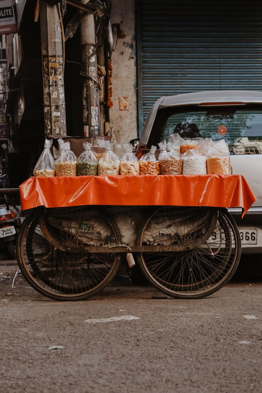 orange and gray food cart