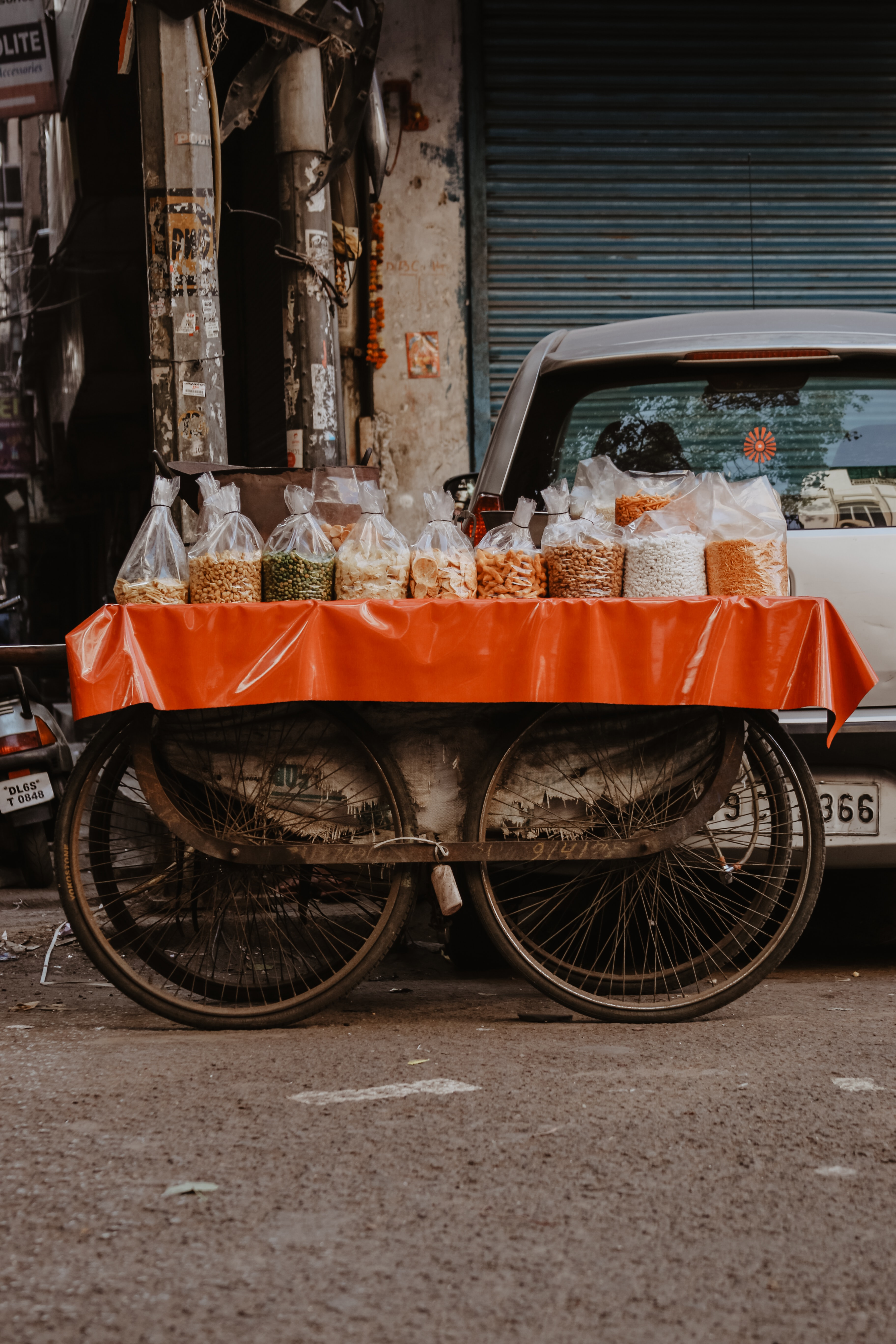 orange and gray food cart