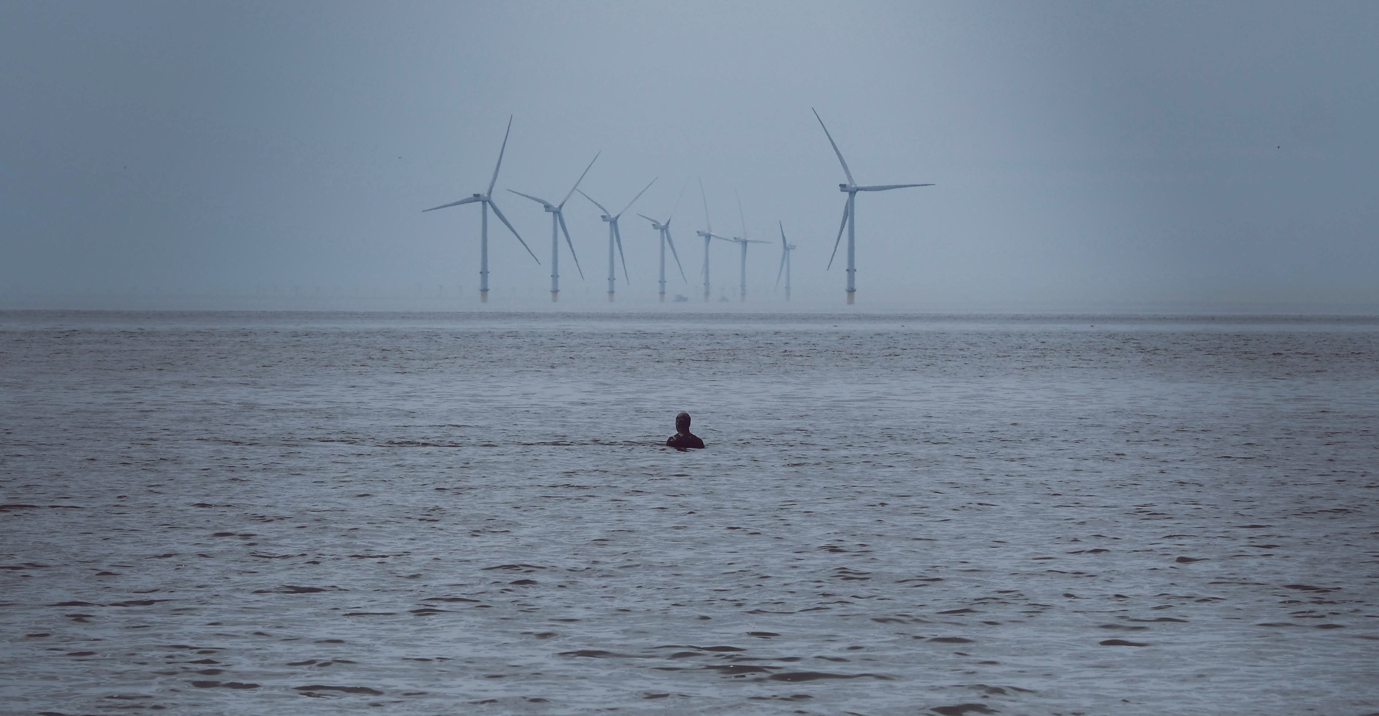 person swimming on water near windmills