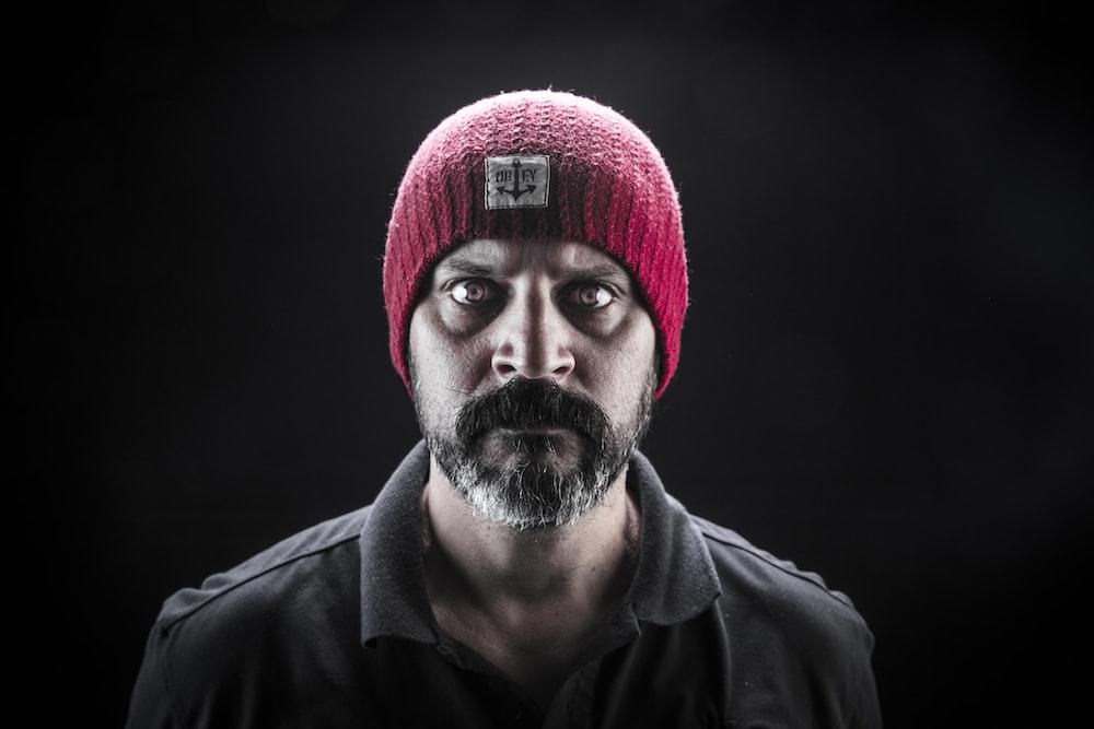 men's red knit cap