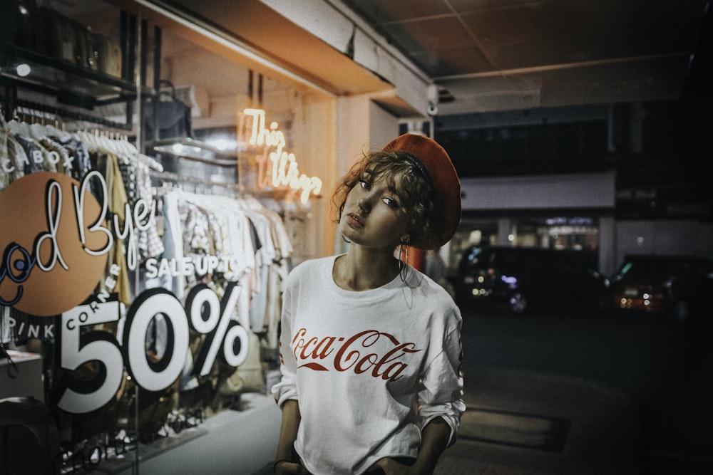 women's white Coca-Cola crew-neck shirt
