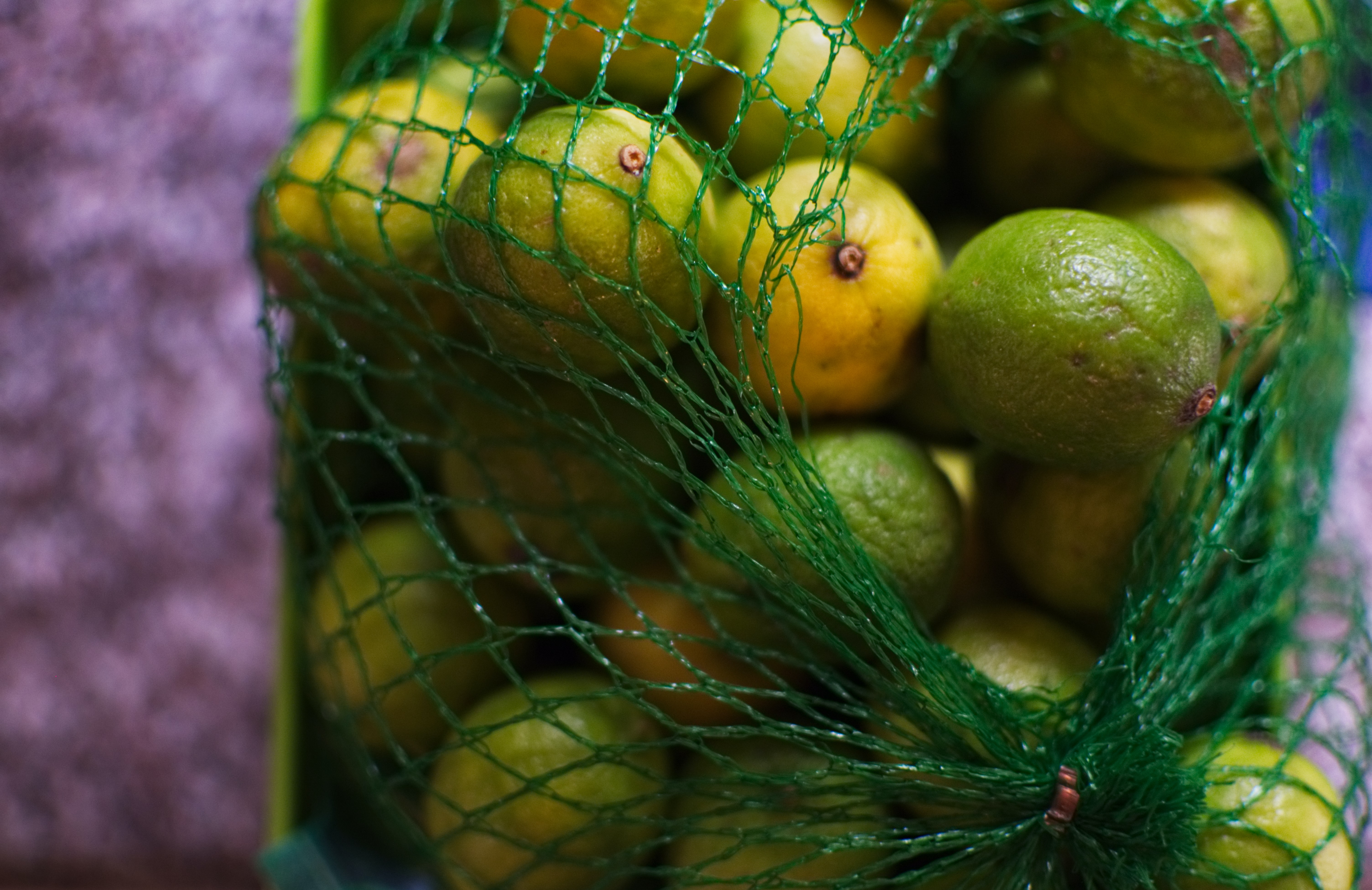 calamondin fruits in green mesh container
