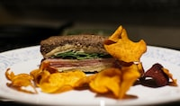 selective focus photography of food on plate