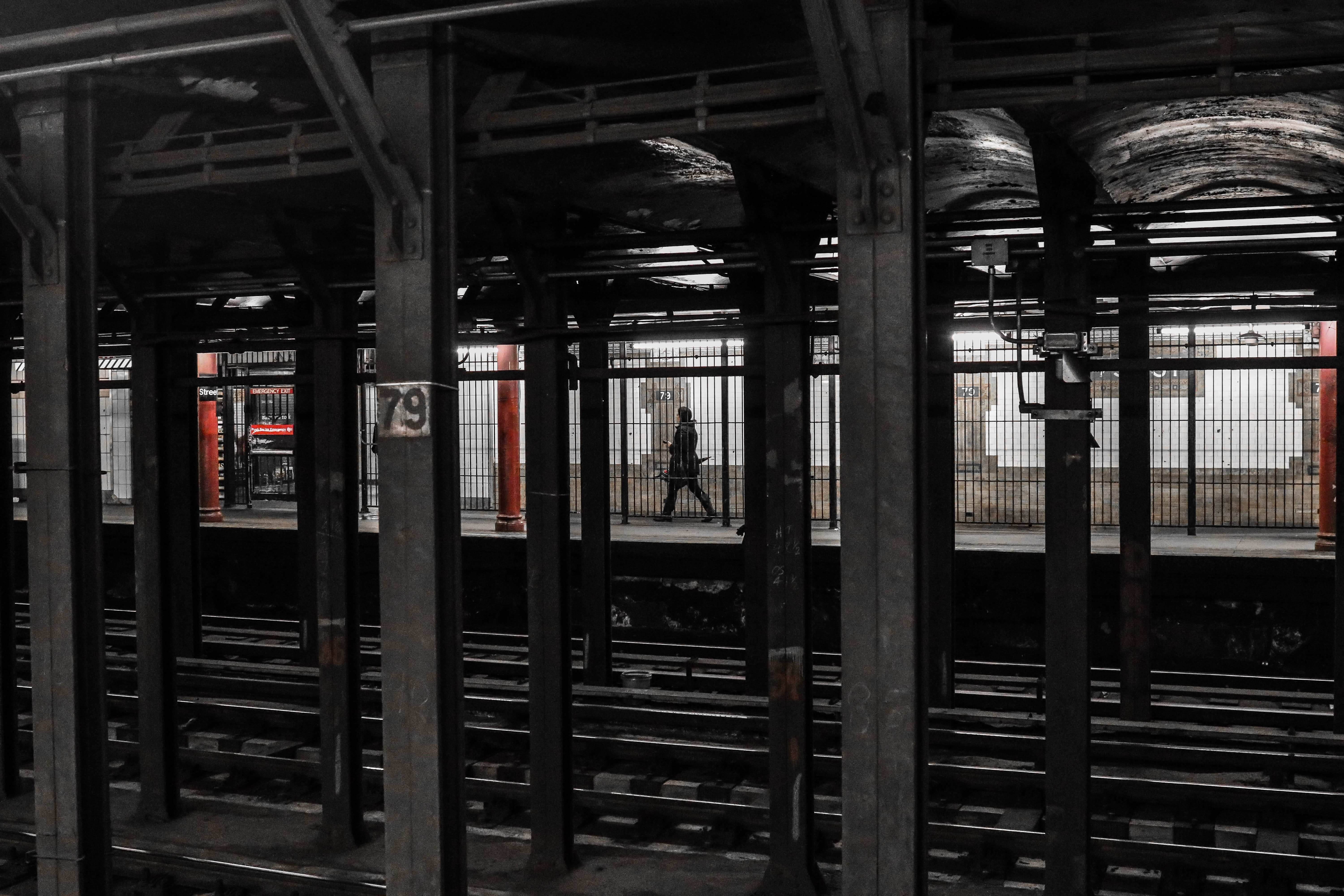 person walking on train station