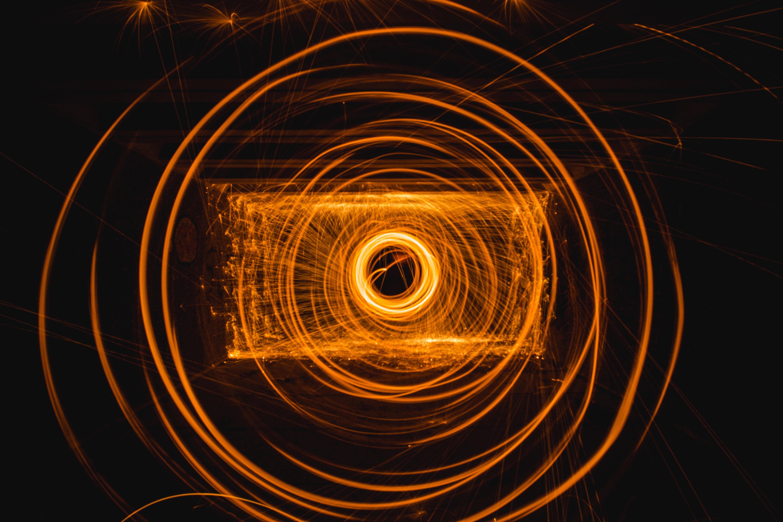steel wool photo of orange fire