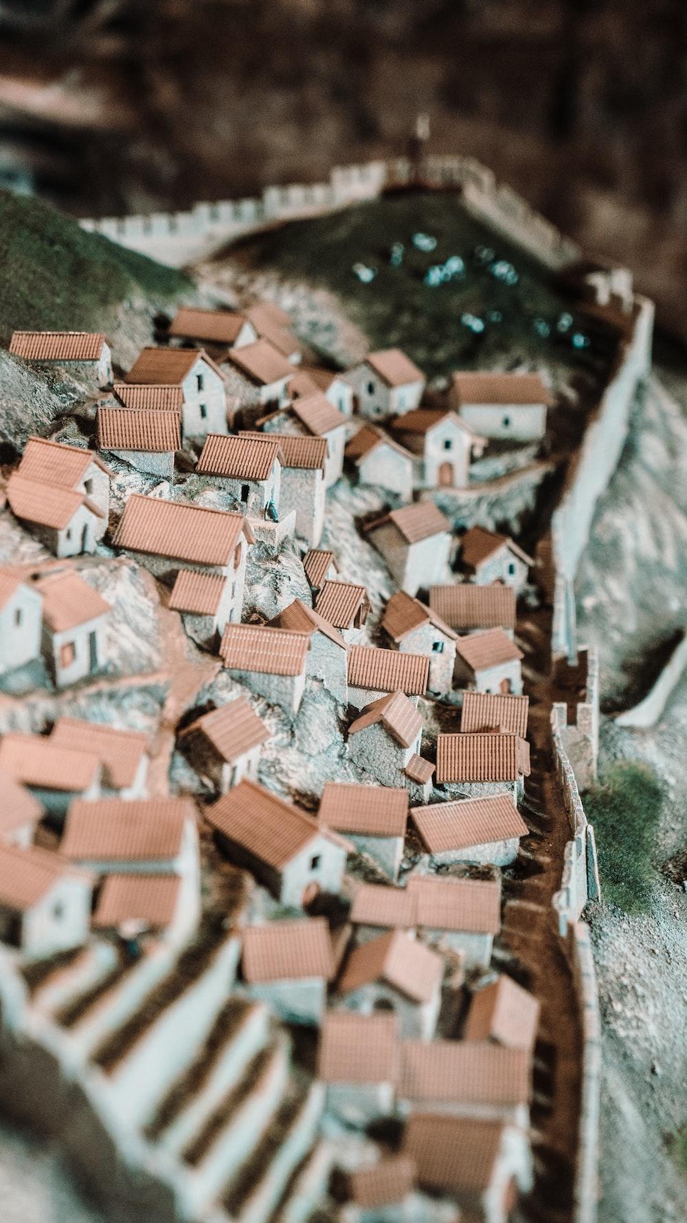 tilt shift photography of miniature house