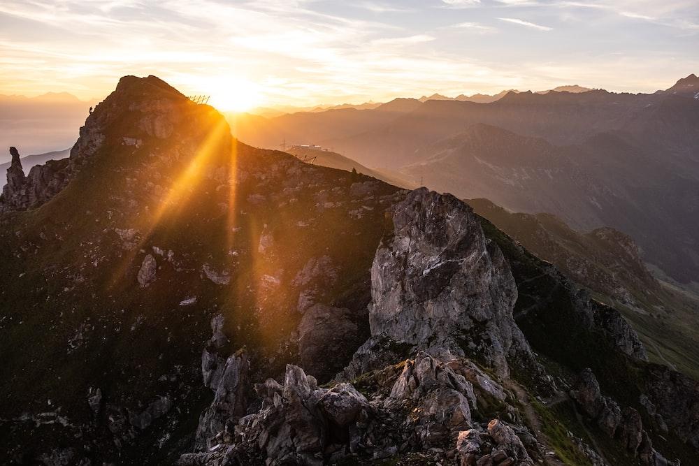 mountain summit during sunrise