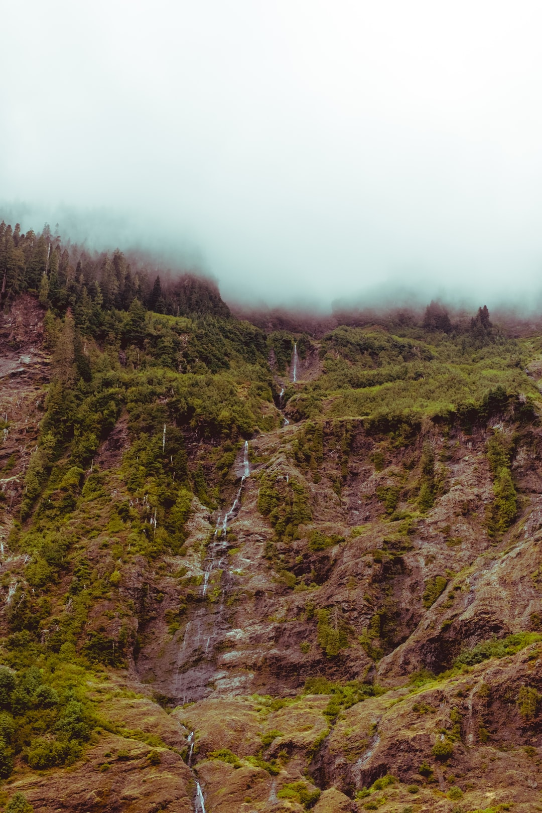 After two days of hiking, we emerged into an enchanted valley, where the clouds hung so low, you couldn't see where the earth ended and the sky began. The waterfalls that trickled off both walls of the valley's tunnel seemed to come from the heavens.