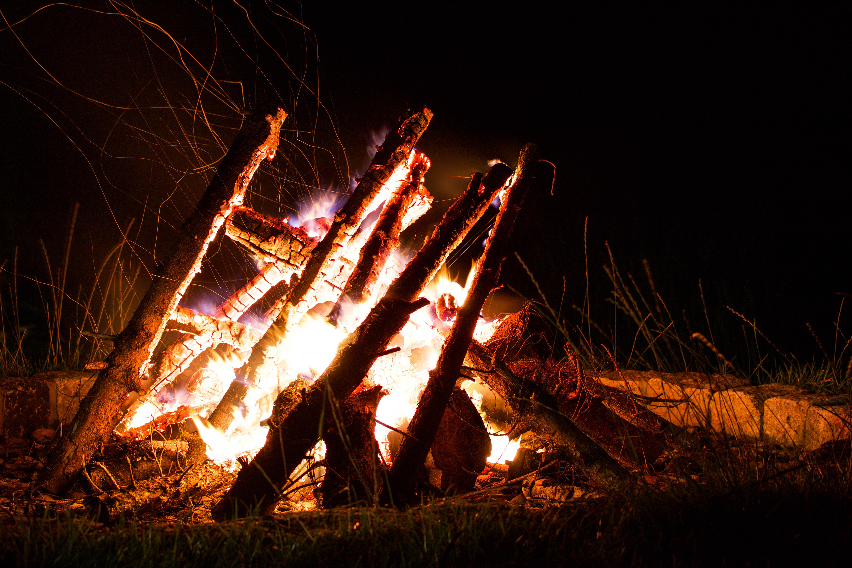 bonfire on grass field