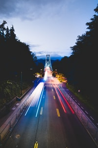 time-lapse photography of road during night