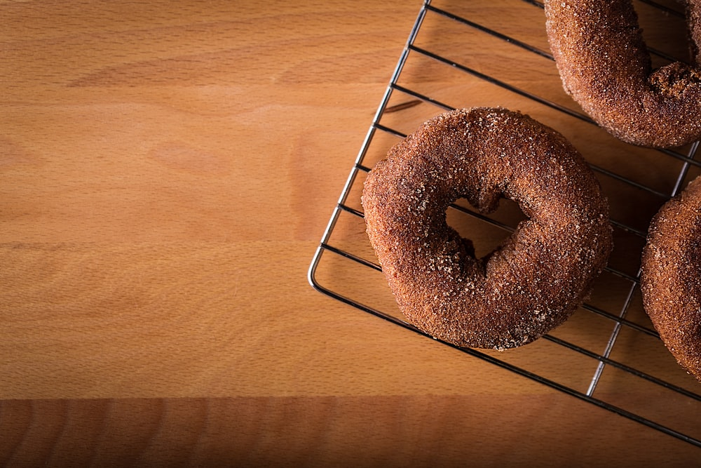 donut on gray steel stand
