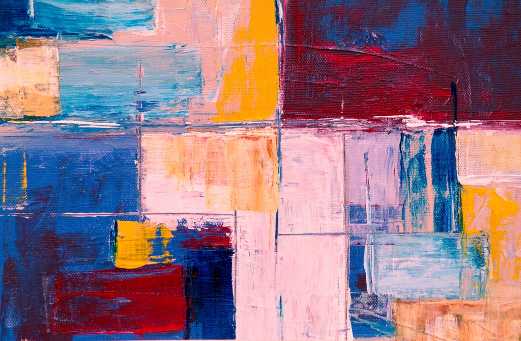 pink, yellow, blue, and red abstract painting