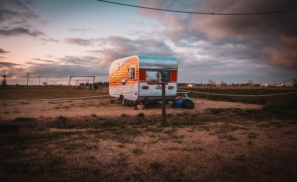 travel trailer on lawn