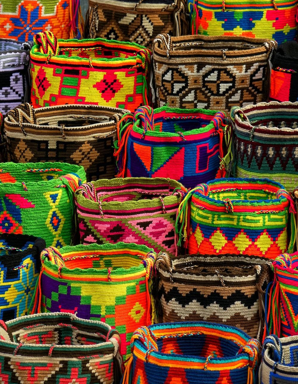 assorted-color woven basket lot