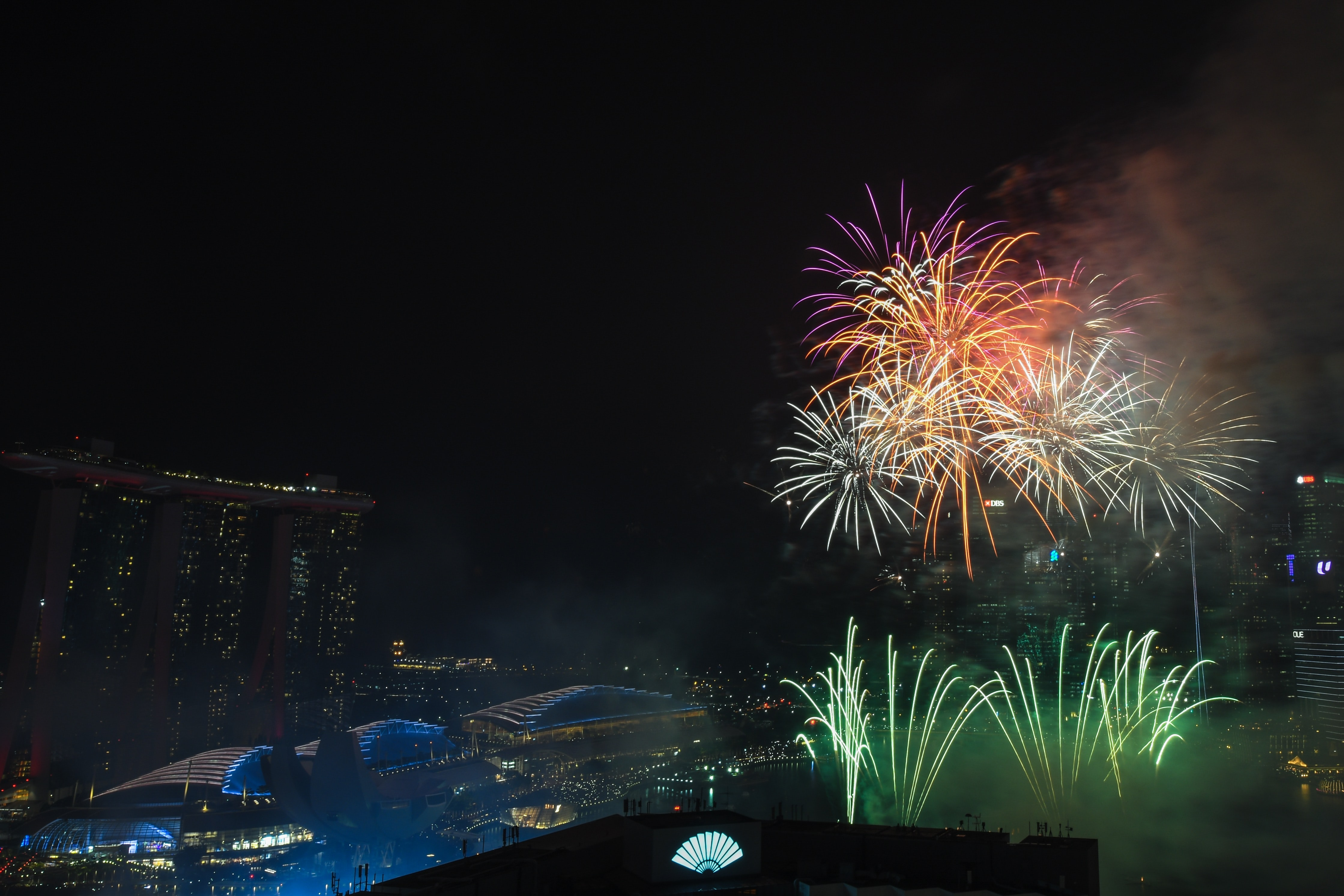 fireworks display view from top of building