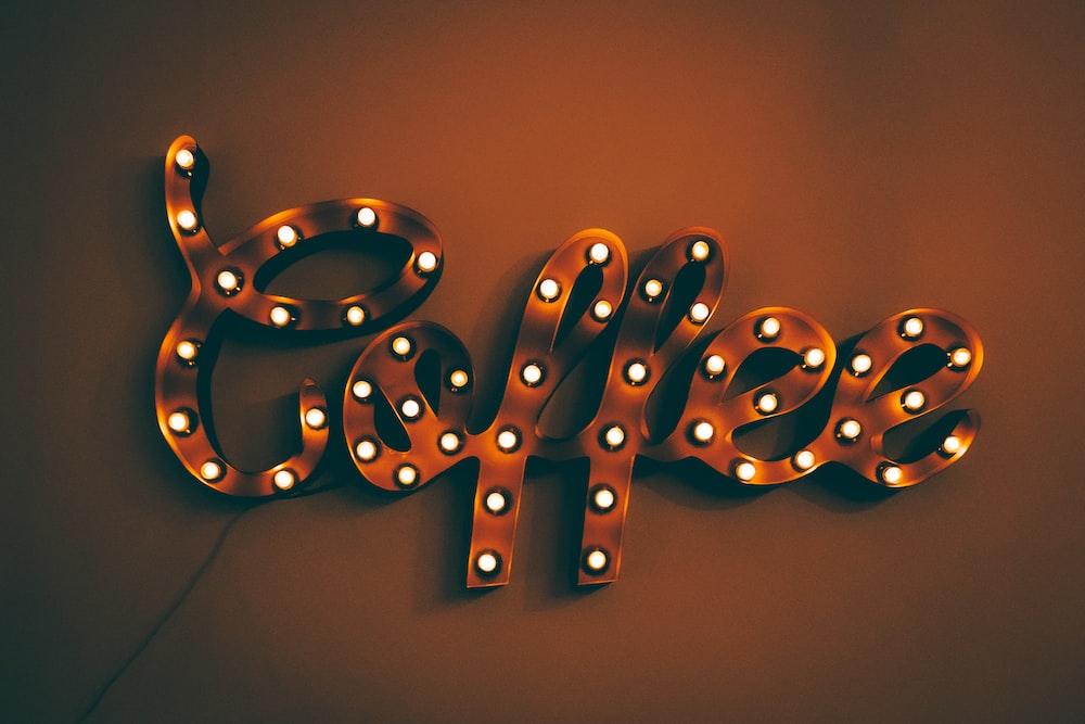orange Coffee neon light signage