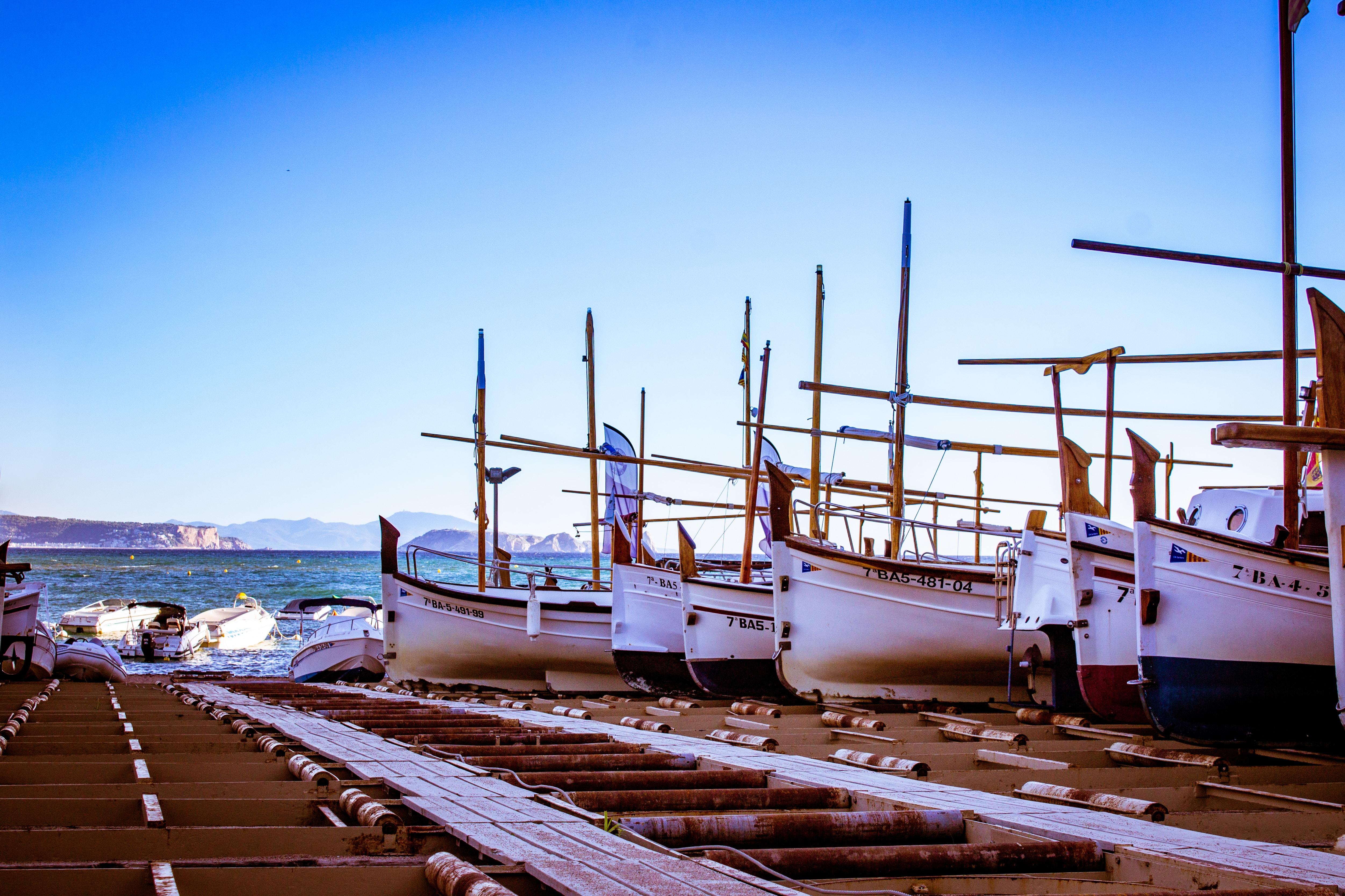 docked sailing boats