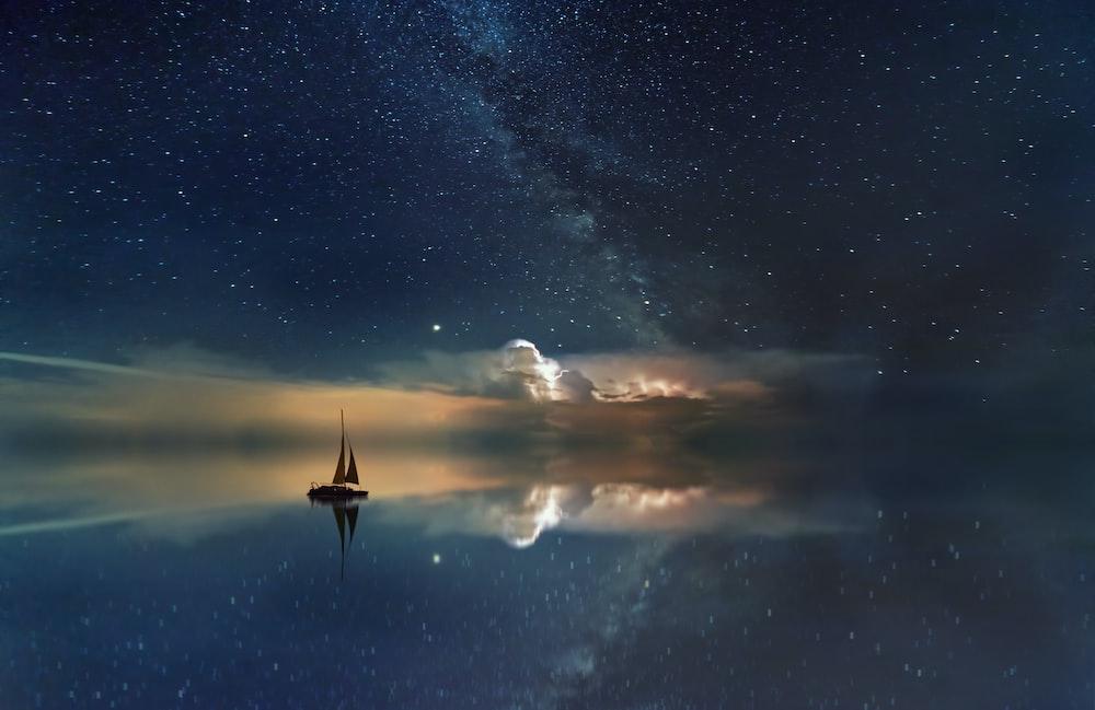 black sailing boat digital wallpaper
