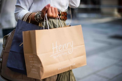 brown henry paper bag shopping zoom background