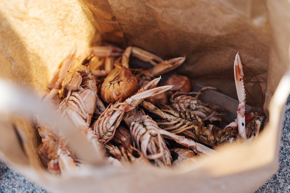 crabs in brown paper bag
