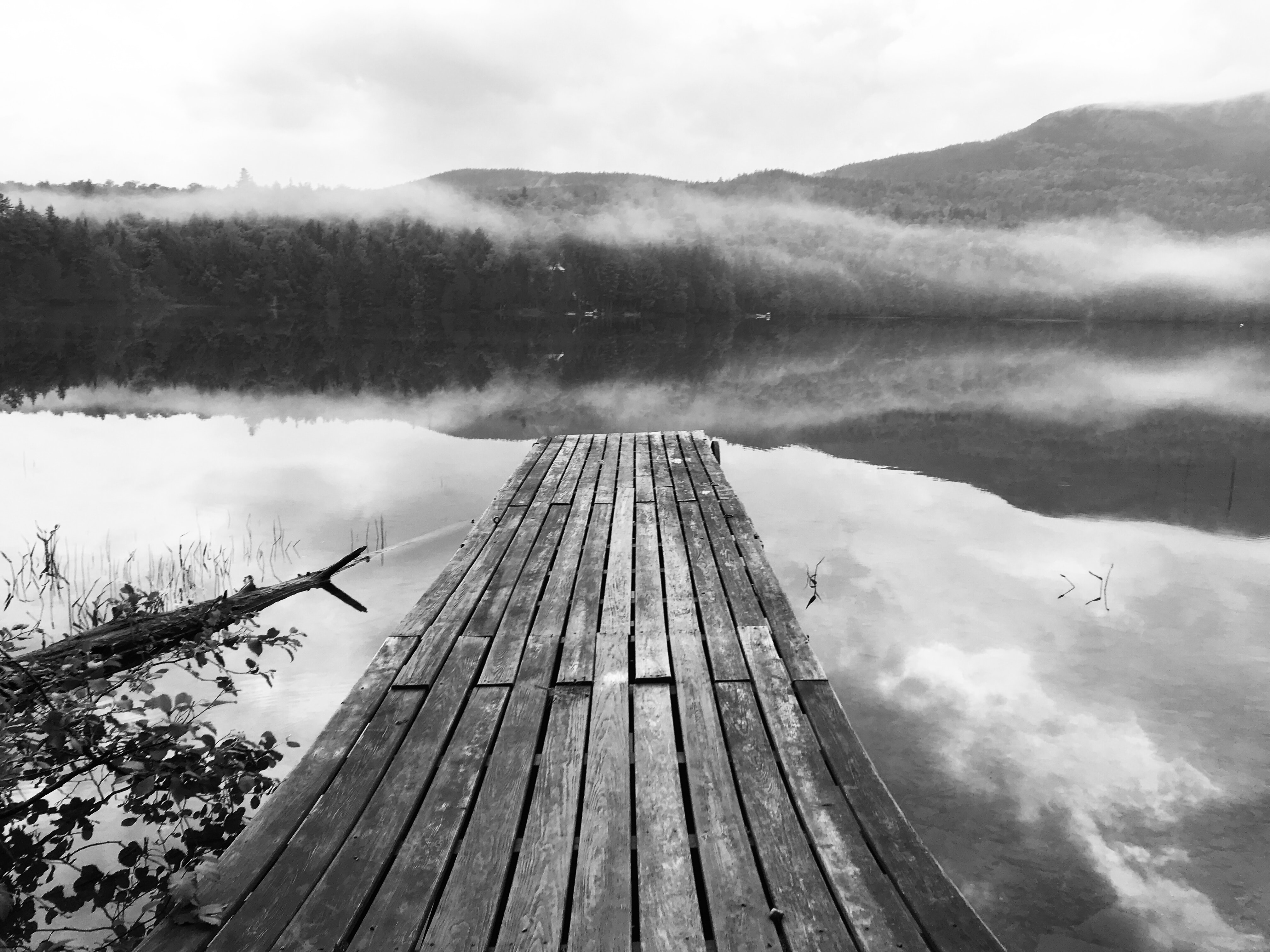 grayscale photography of dock beside body of water