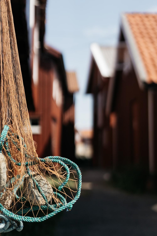 close-up photo of brown net near village