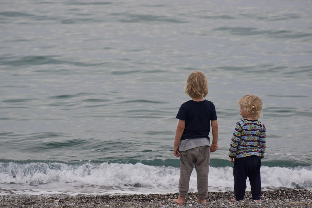 two child standing on shore