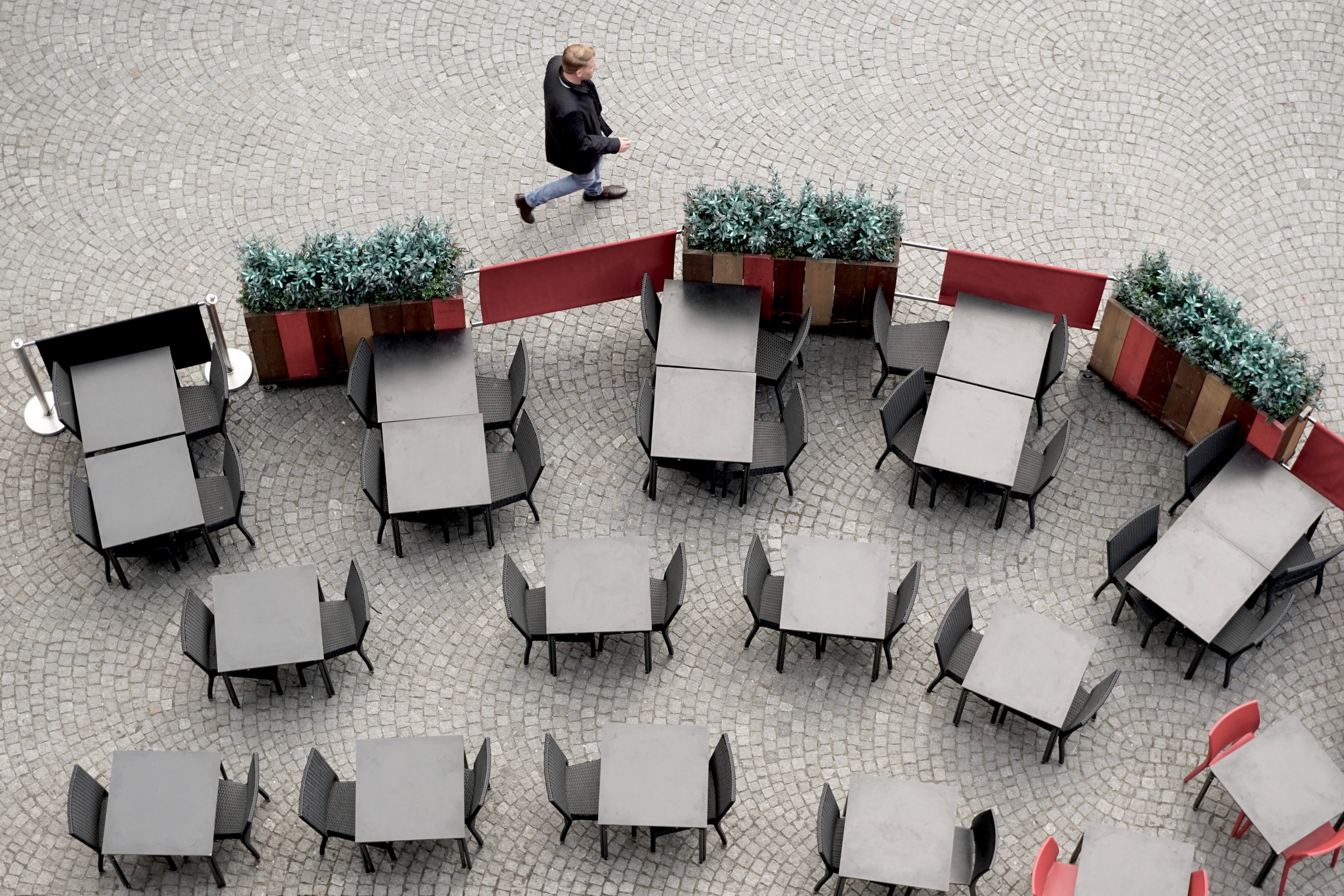 aerial photo of grey tables