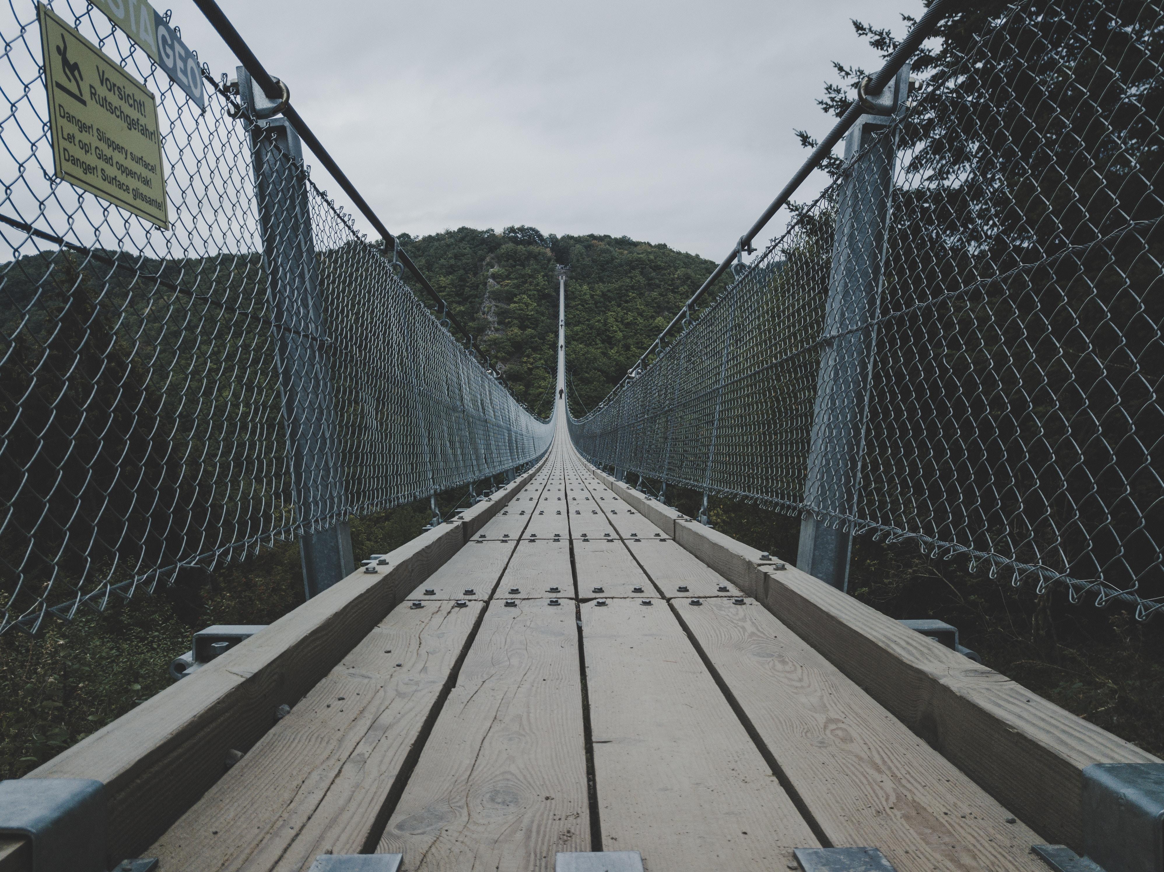 empty cable dock through mountain
