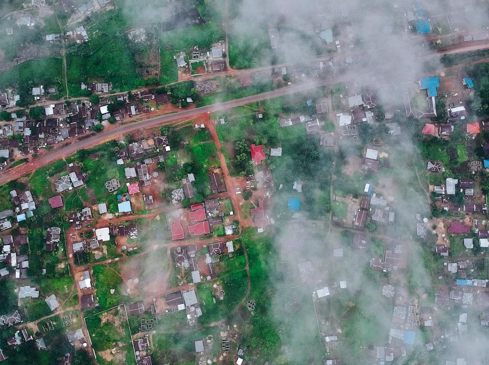 aerial photo of foggy city