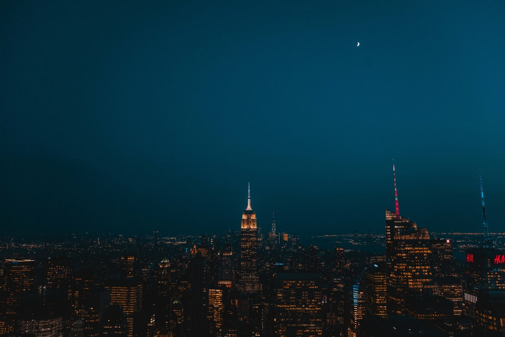 aerial photography of Empire State Building during nighttime